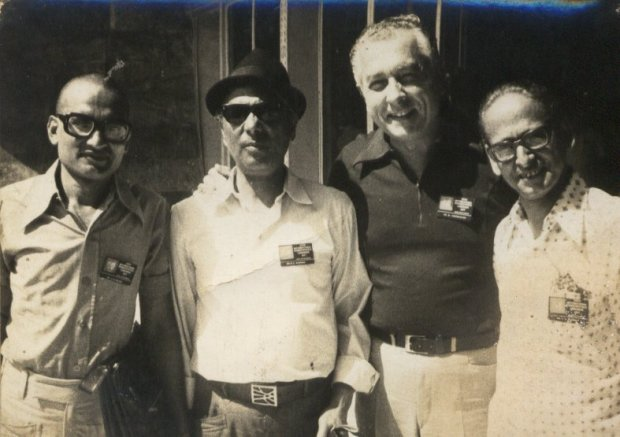 Photo; From Left Dr Desh Bandhu Bajpai, an Unknown person who inserted himself for photography, Dr. med. Walther Zimmermann, Chefartz, Krankenhaus fuer Naturheilweissen, Harlaching, Munich, Germany and Dr. K.N. Khanna , Kanpur. The Photo was taken in 1977 at Vigyaan Bhavan, New Delhi at the occassion of Word Conference of Homoeopathy, organised by International Homoeopathy League, Switzerland.