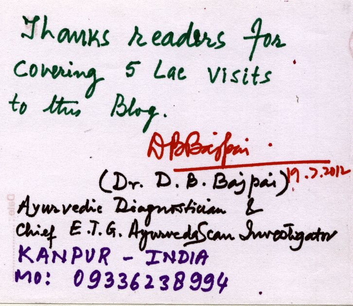 Thanks READERS ; Ayurveda, Ayushmen : E.T.G. AyurvedaScan have crossed over 500000 {five Lac} hits today on 19th July 2012